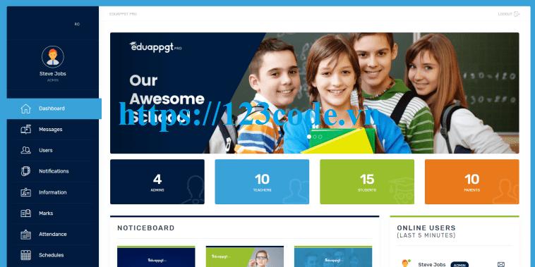 Tải source code hệ thống phần mềm quản lý trường học php & Bootstrap
