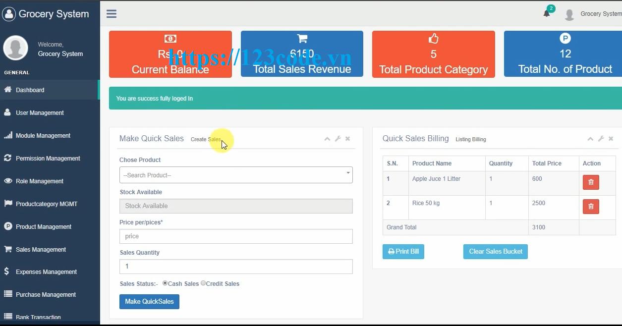 Tải source code phần mêm Hệ thống thanh toán và kiểm kê siêu thị Laravel php