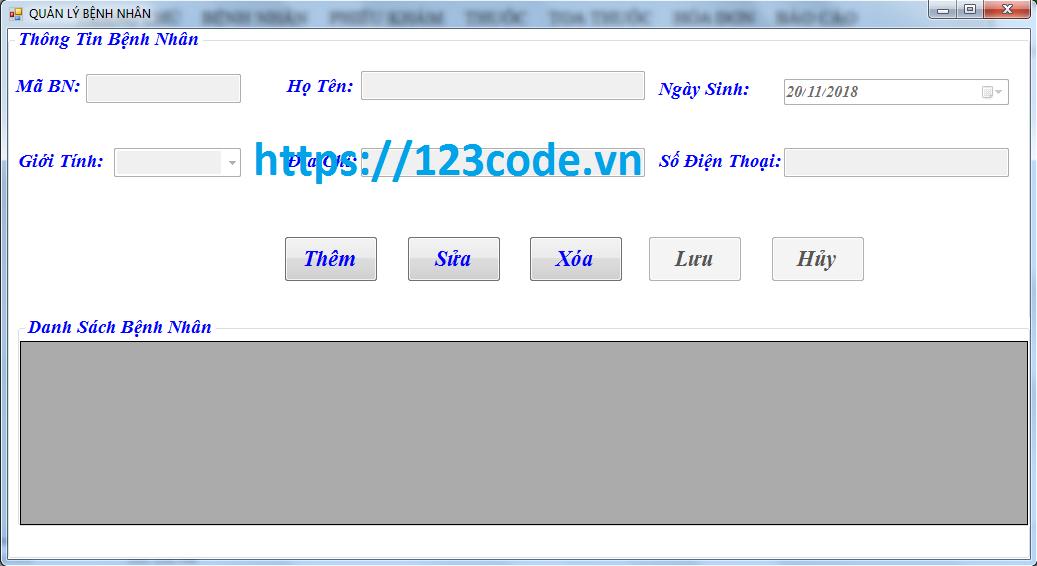 Tải source code quản lý phòng khám c# đầy đủ code