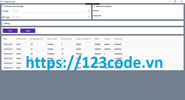 Tải source code quản lý nhân sự c# full database và báo cáo