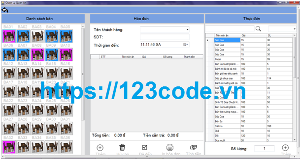 Tải source code hệ thống quản lý quán ăn c# có báo cáo kèm data