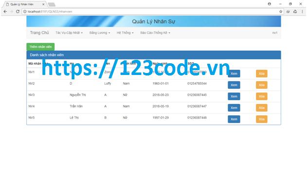 Tải website quản lý nhân sự code java có báo cáo