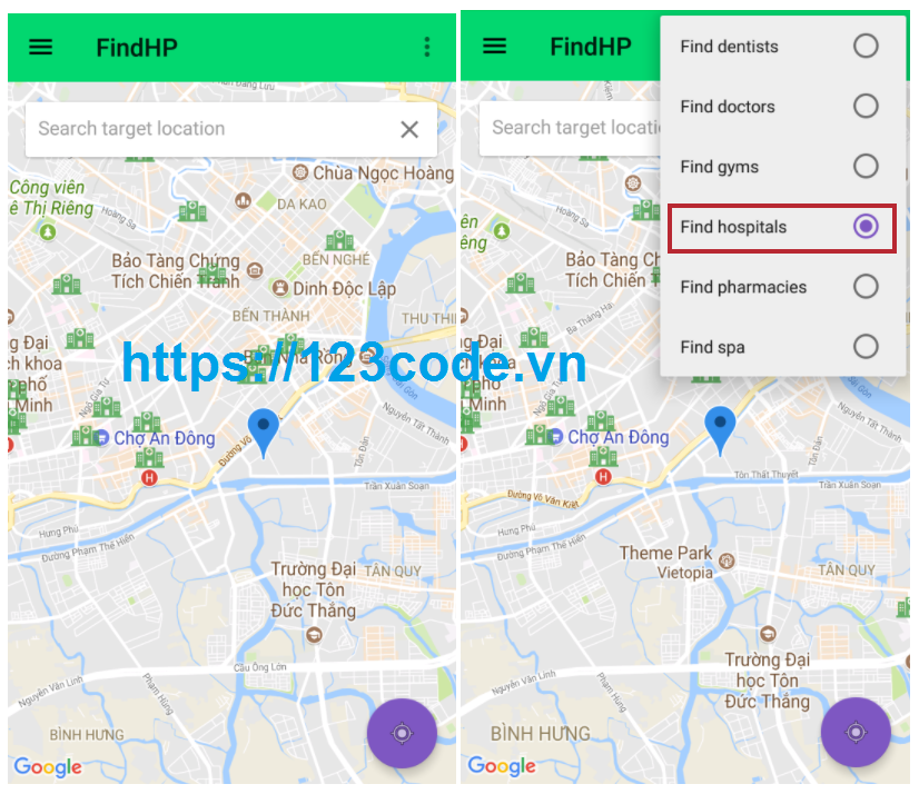 Code ứng dụng tìm vị trí các dịch vụ java Android có hương dẫn