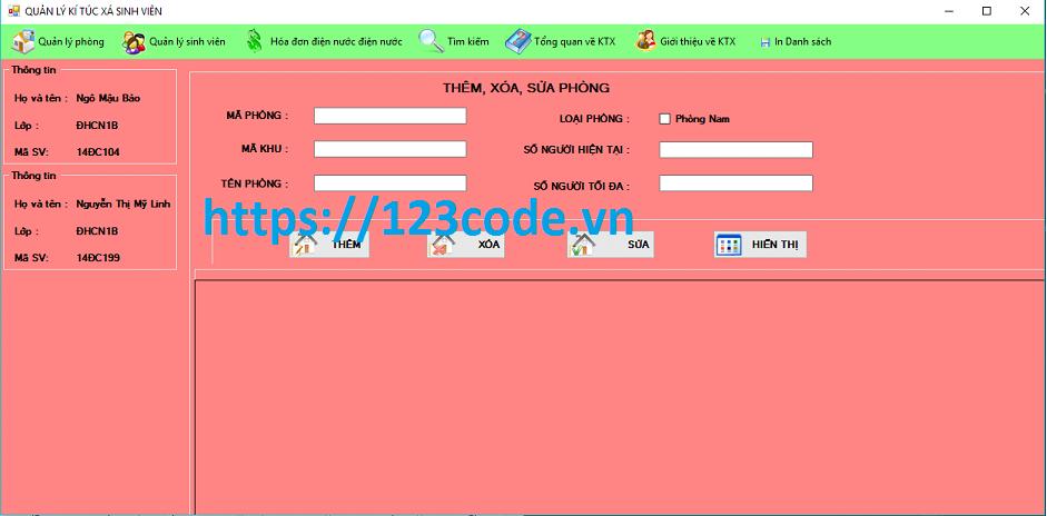 Code phần mềm quản lý ký túc xá sinh viên c# có báo cáo kèm theo