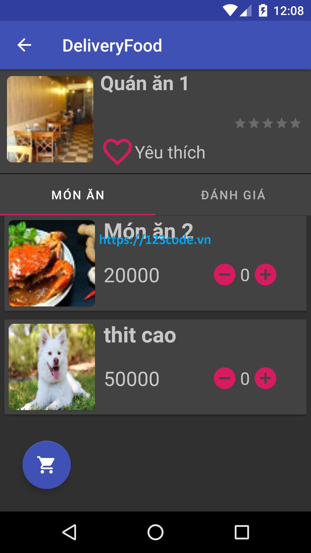 Source code app đặt món ăn nhà hàng java android