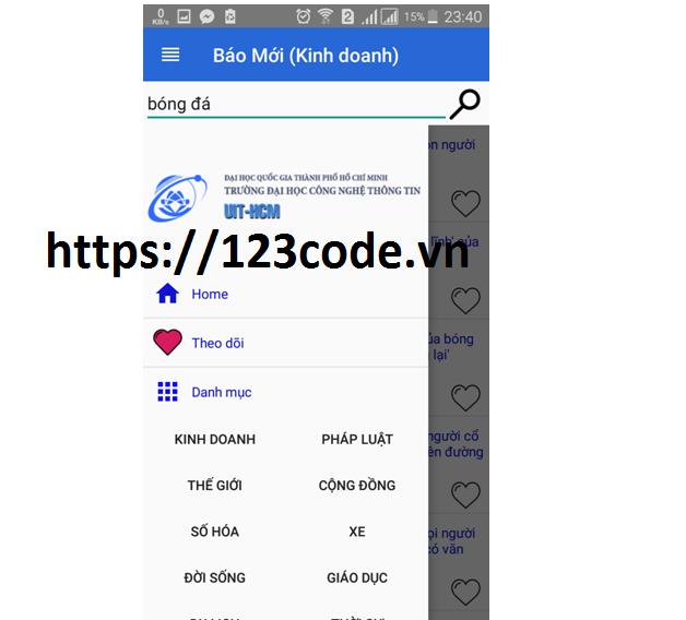 Source code app đọc báo java có báo cáo kèm theo