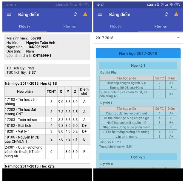 Source code app tra cứu thông tin sinh viên JavaScript Android
