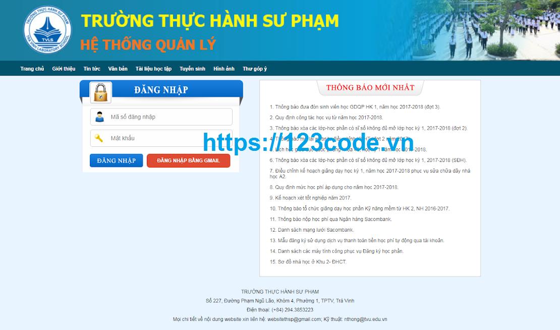 Source code hệ thống quản lý trường học php - lavarel