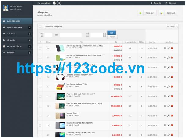Source code website bán hàng trực tuyến php thuần có báo cáo