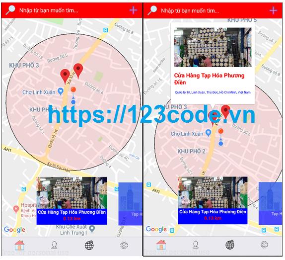 Báo cáo và code app tìm kiếm vị trí xung quanh JavaScript