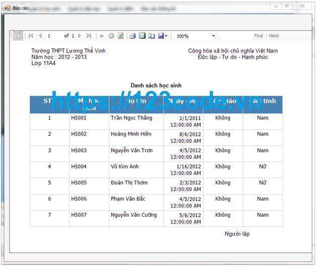 Tải source code quản lý điểm học sinh trung học c# có báo cáo