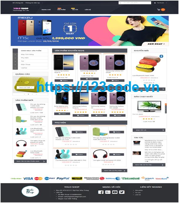 Tải source code website bán hàng điện tử php thuần có báo cáo