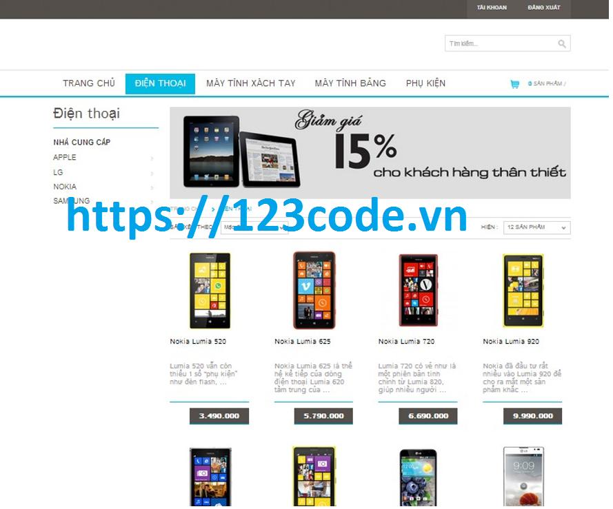 Báo cáo kèm code website bán điện thoại php CodeIgniter Framework MVC 1