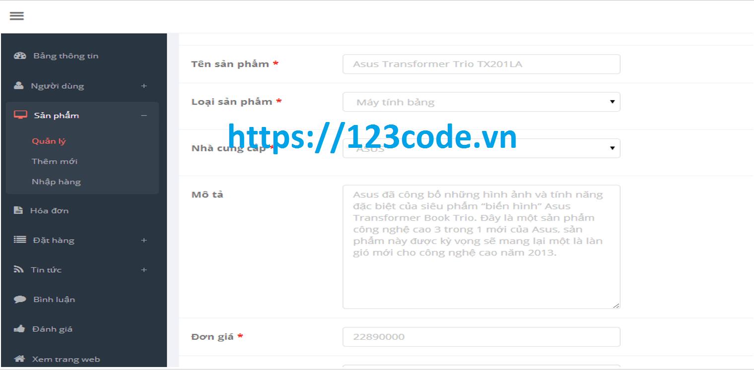 Báo cáo kèm code website bán hàng php CodeIgniter Framework MVC 1