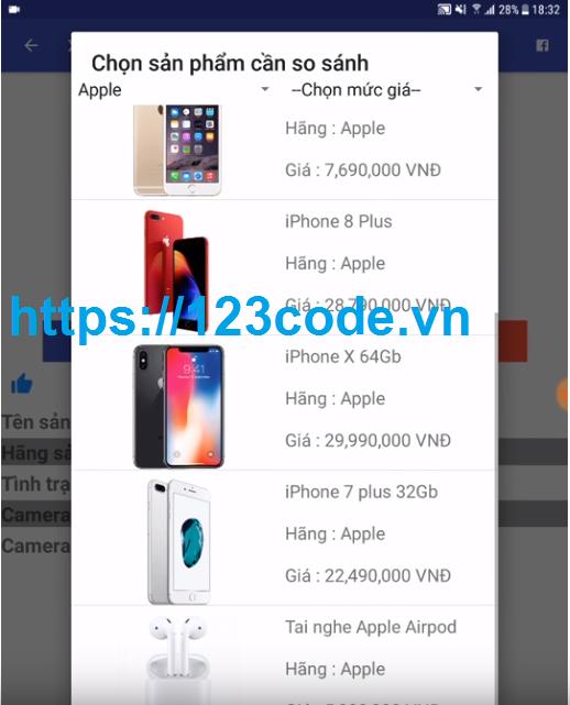 Code Ứng dụng thương mại điện tử trên thiết bị di động Android Java