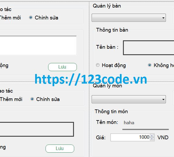 Code phần mềm quản lý lý quán cafe c# có database