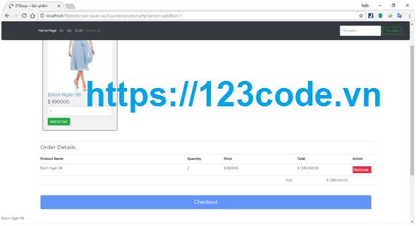 Code và báo cáo website bán quần áo php