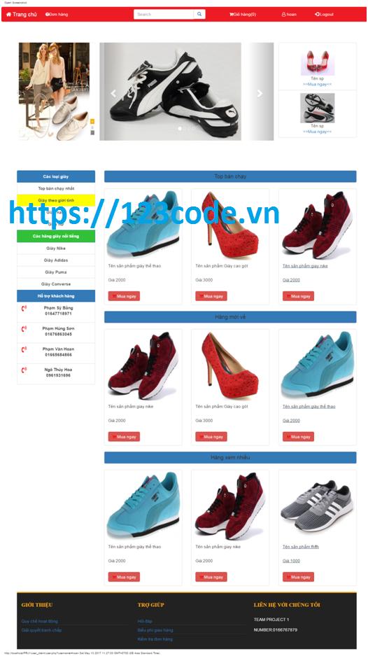 Báo cáo kèm code website bán hàng online php mysql