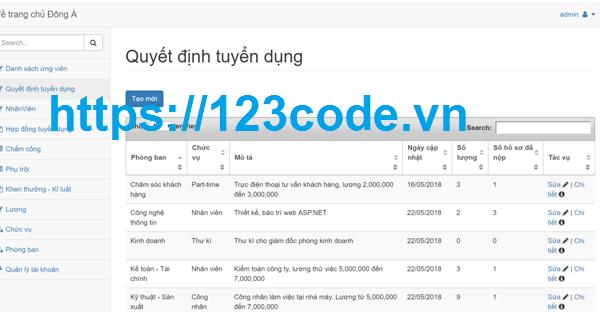 Báo cáo kèm source code quản lý nhân sự ASP.NET - MVC