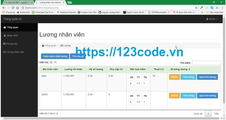 Báo cáo kèm source code quản lý nhân sự asp.net - mvc full database