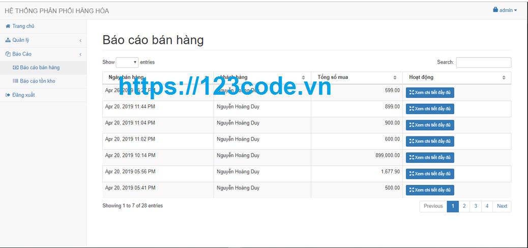 Báo cáo kèm source code website quản lý bán hàng php có database