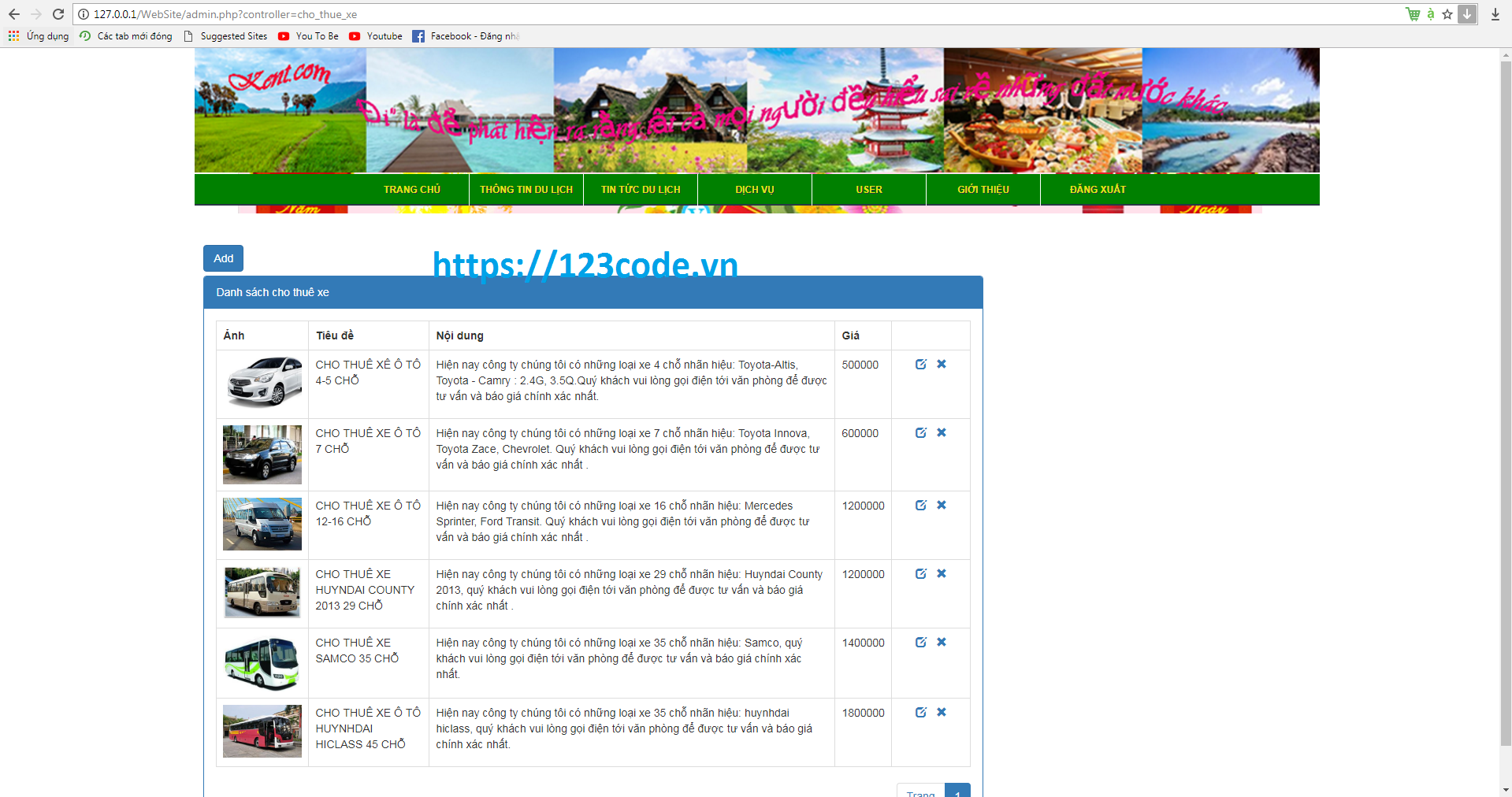 Full source code website tour du lịch php có database 123code.vn