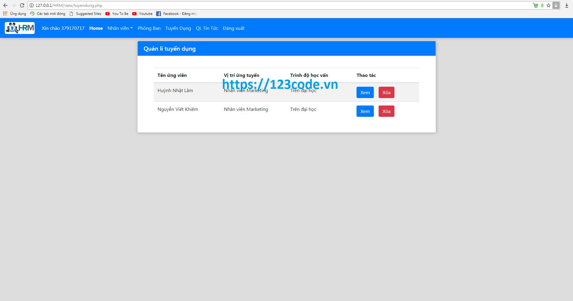 Full source code website tuyển dụng nhân sự php đầy đủ database