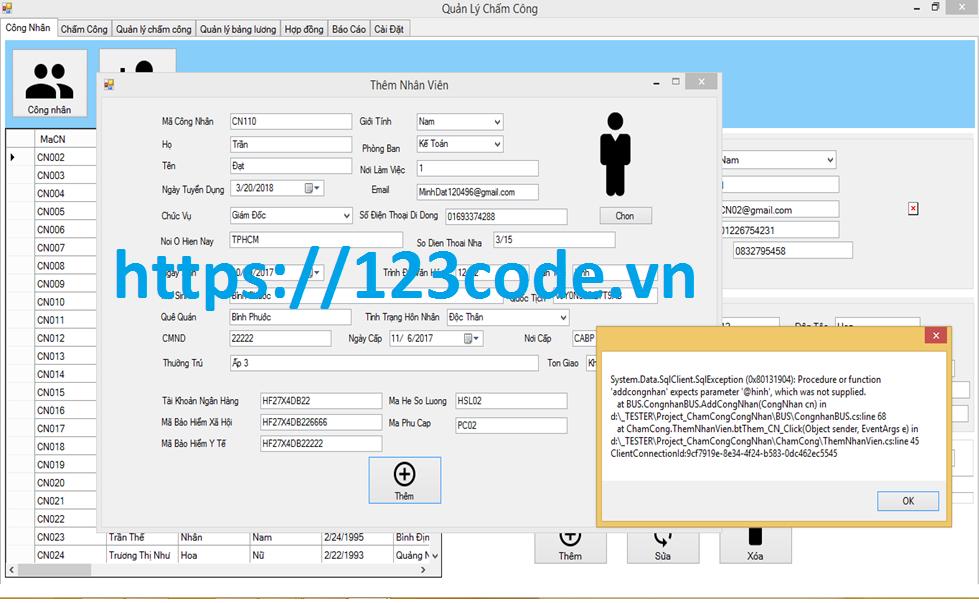 Source code phần mềm quản lý châm công c# full database và báo cáo