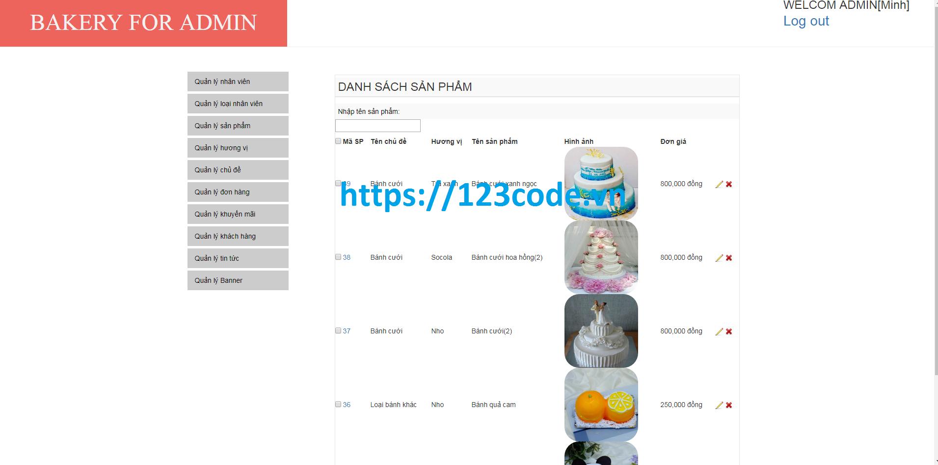 Source code php website bán bánh kem có đầy đủ database