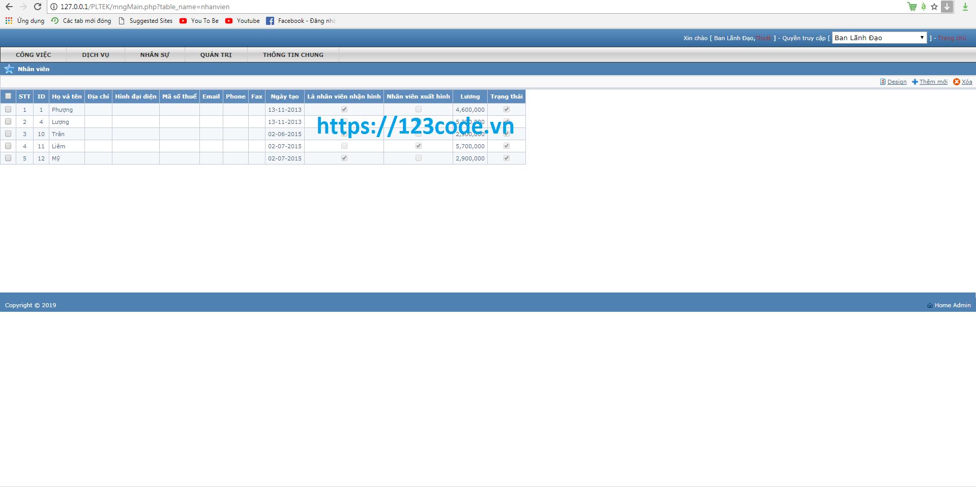 Source code quản lý nhân sự tiền lương php thuần