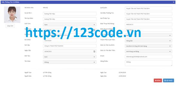 Source code tốt nghiệp quản lý cán bộ ASP.NET đầy đủ báo cáo và data