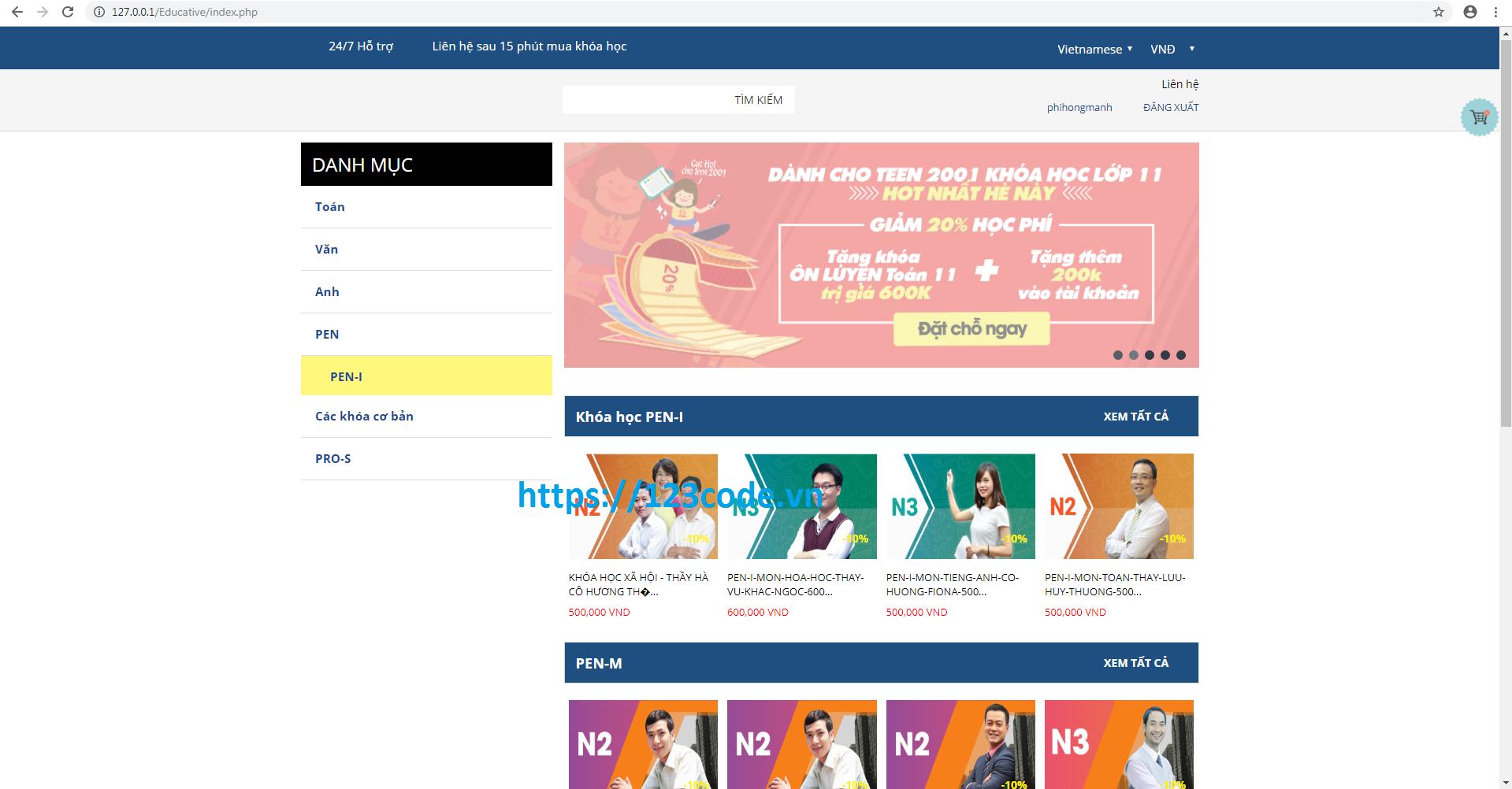 Source code website khóa học online php kèm hướng dẫn