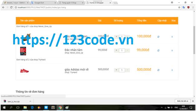 Source code website thương mại điện tử php laravel kém báo cáo