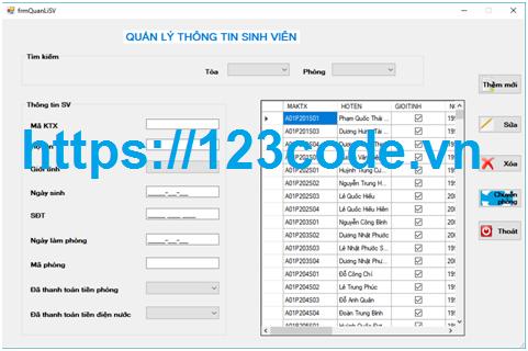 Tải source code quản lý ký túc xá c# full báo cáo và database