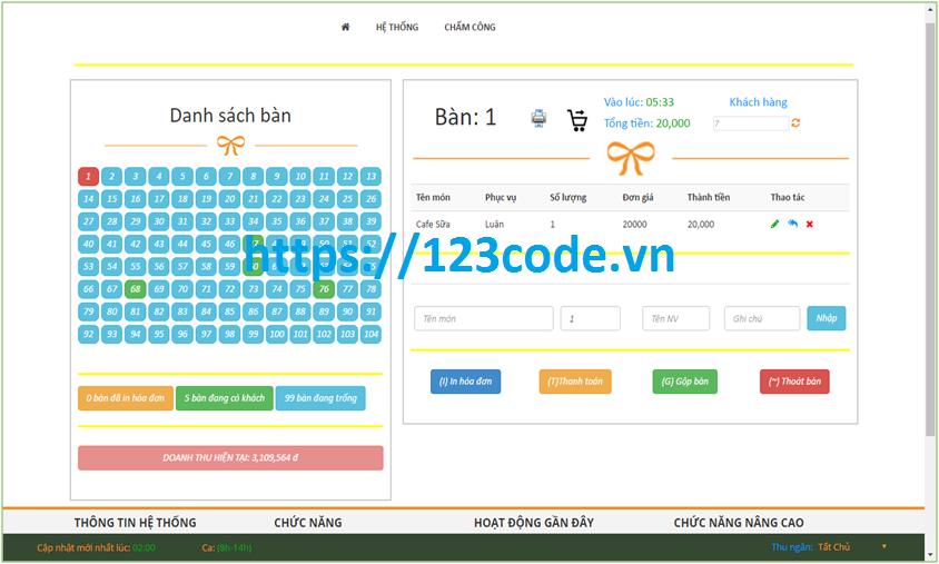 Tải source code quản lý quán Cafe trực tuyến ASP.NET MVC