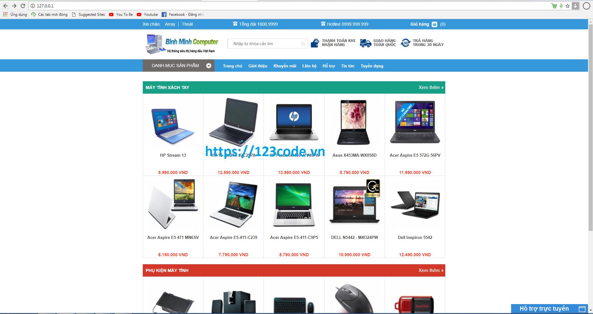 Tải source code website bán máy tính php thuần