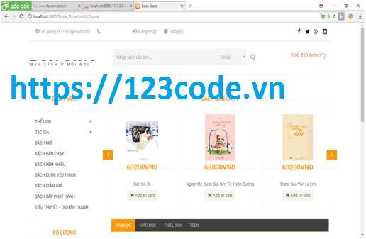 Tải source code website bán sách online php laravel có báo cáo