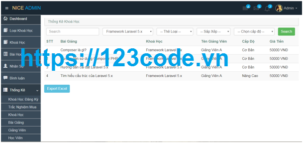Tải source code website dậy học online Javascript và MySQL có báo cáo