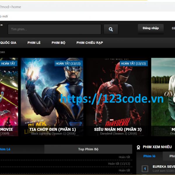 Chia sẻ miễn phí source code website xem phim php full data