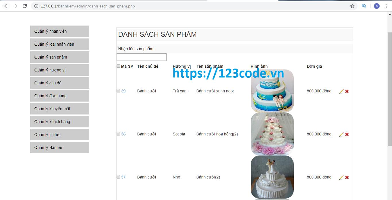Chia sẻ source code website bán bánh sinh nhật php mvc full data