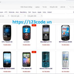 Chia sẻ source code website bán hàng điện thoại php full database
