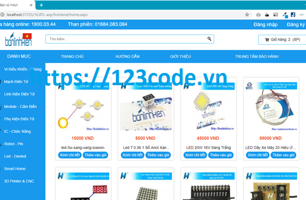 Share source code website bán hàng asp.net full data và báo cáo