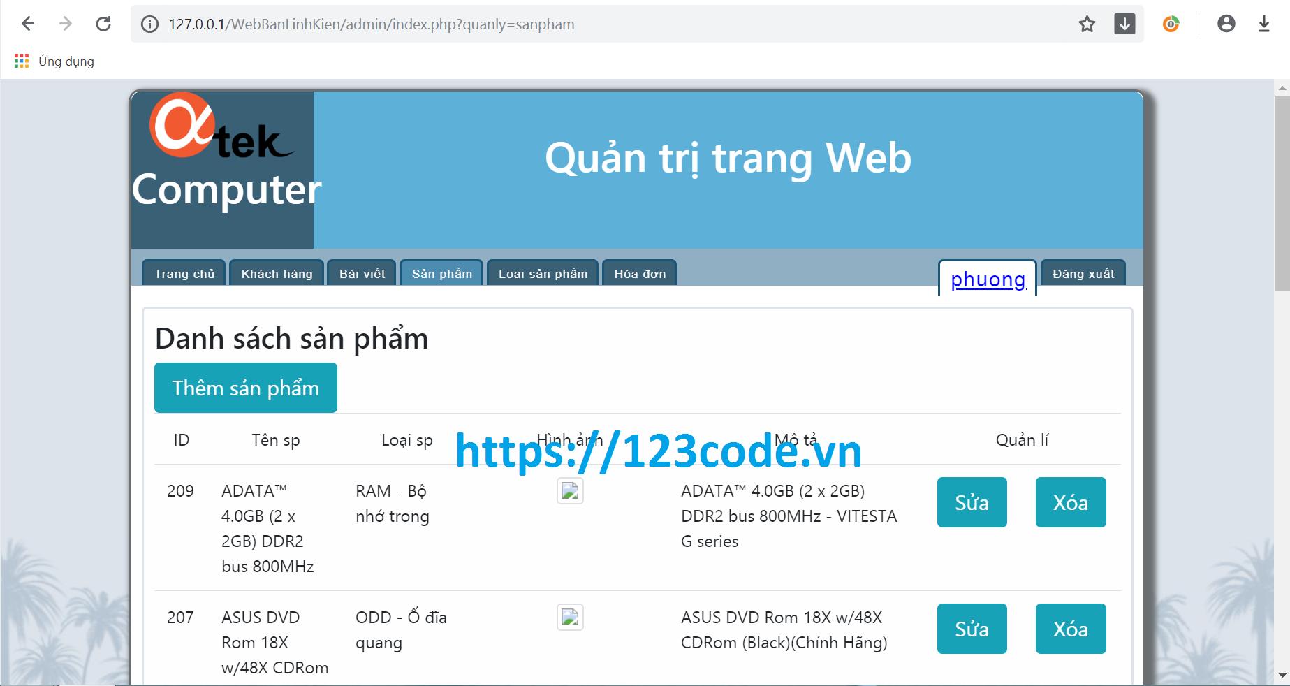 Tải code website bán hàng linh kiện php full database