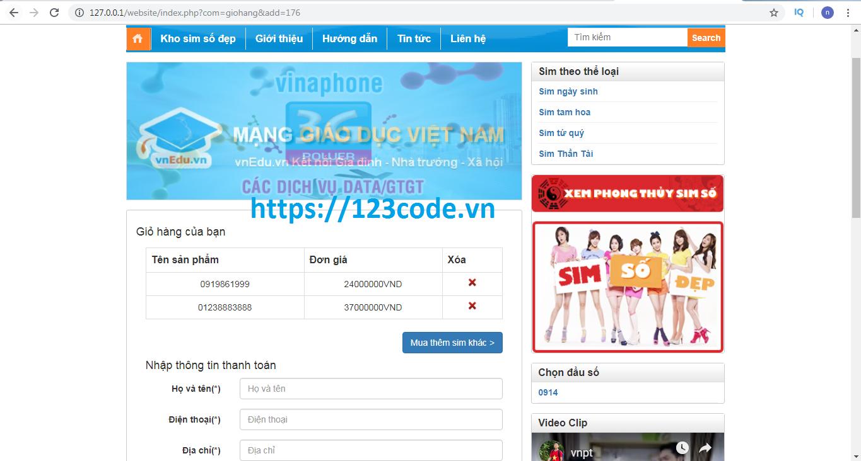 Tải source code php website bán sim số full database miễn phí