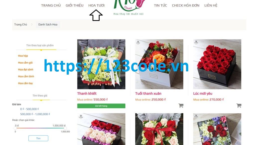 source code website bán hoa online php thuần 123code.vn