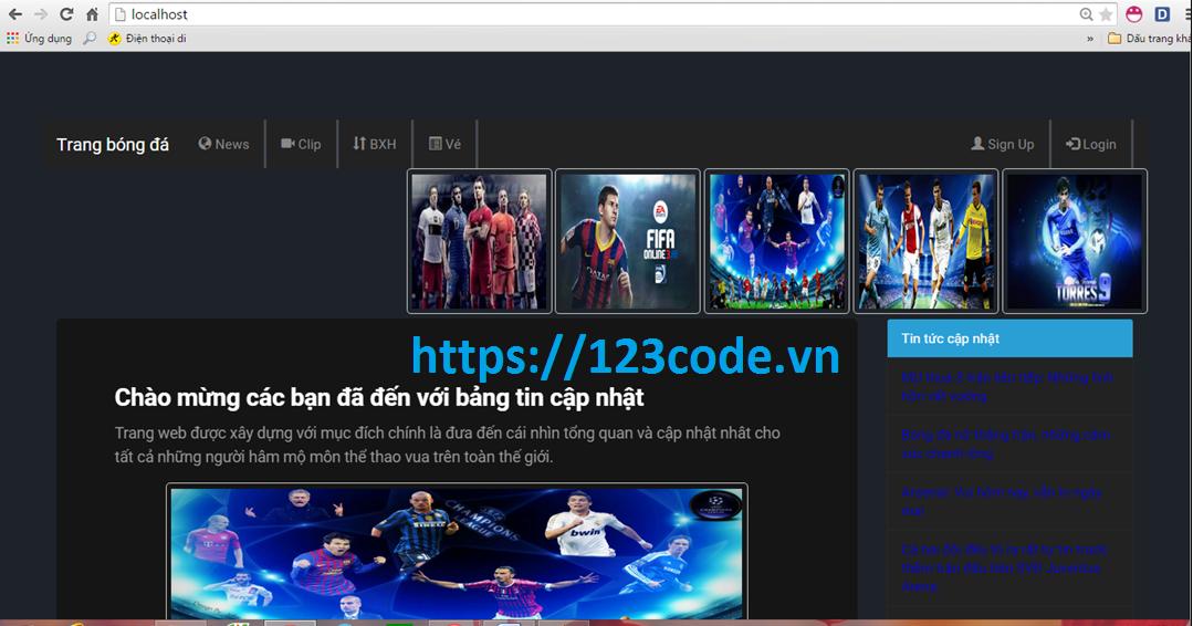 Báo cáo kèm code website trang bóng đá php CodeIgniter Framework