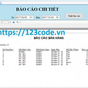 Báo cáo kèm source code quản lý doanh thu c# full database