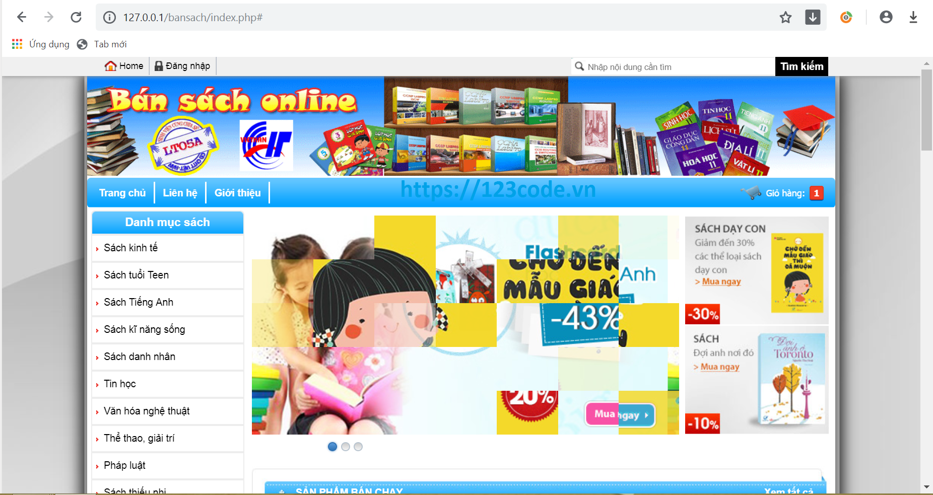 Chia sẻ source code website quản lý bán sách php thuần