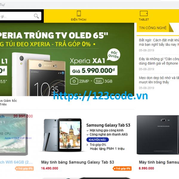 Code website bán hàng đồ điện tử php thuần full data DATN
