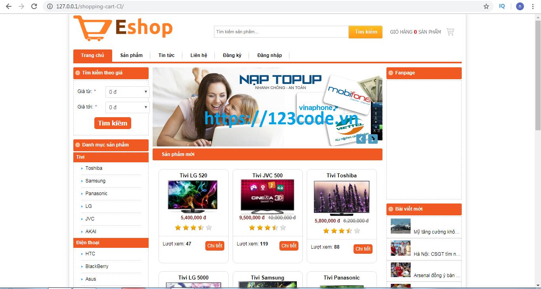 Code website bán hàng điện tử php codeigniter